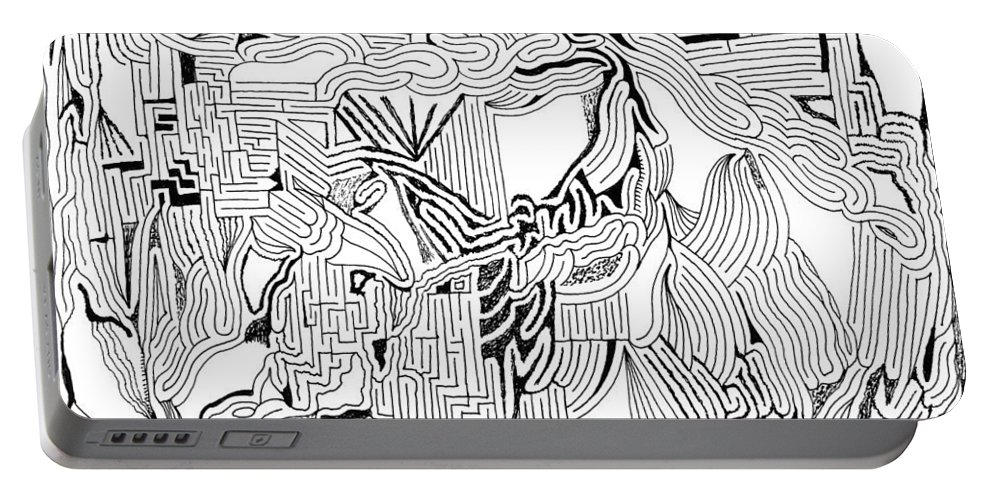 Mazes Portable Battery Charger featuring the drawing Earthquake by Steven Natanson