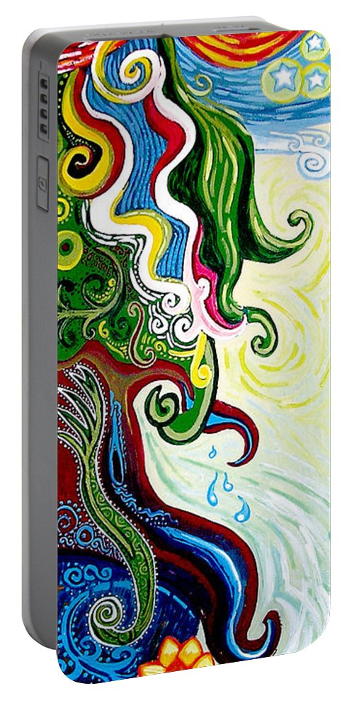 Mother Earth Portable Battery Charger featuring the painting Earths Tears by Genevieve Esson