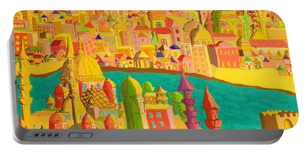 Castles Portable Battery Charger featuring the painting East And West by Mimi Revencu