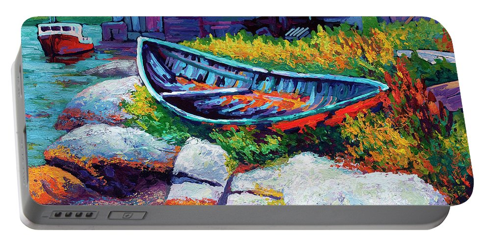 Boat Portable Battery Charger featuring the painting East Coast Boat by Marion Rose