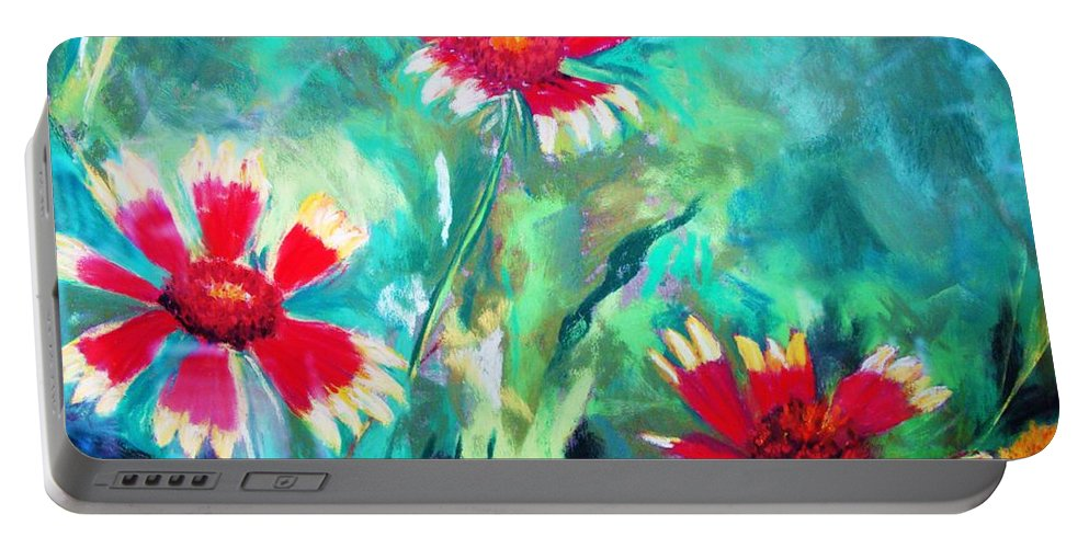 Flowers Portable Battery Charger featuring the painting East Texas Wild Flowers by Melinda Etzold