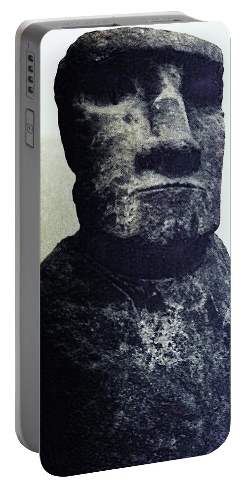 Easter Island Portable Battery Charger featuring the painting Easter Island Stone Statue by Eric Schiabor
