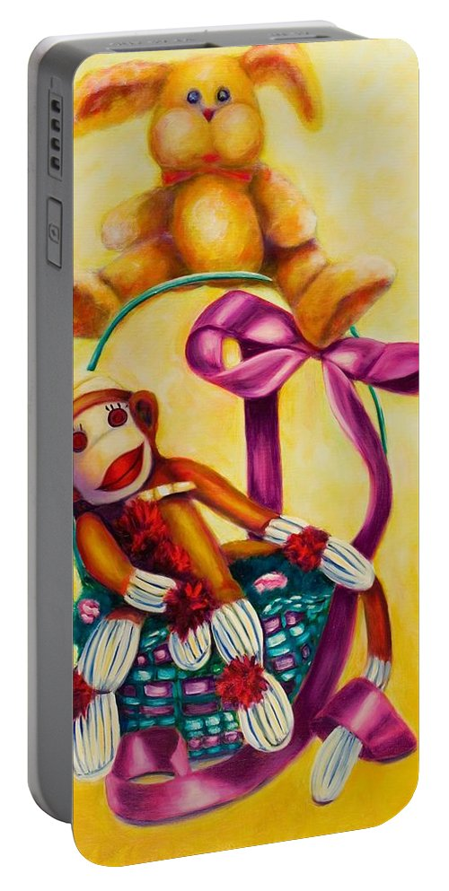 Easter Portable Battery Charger featuring the painting Easter Made Of Sockies by Shannon Grissom