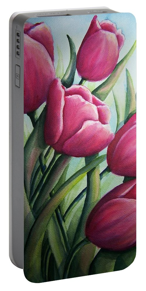 Easter Portable Battery Charger featuring the painting Easter Tulips by Conni Reinecke