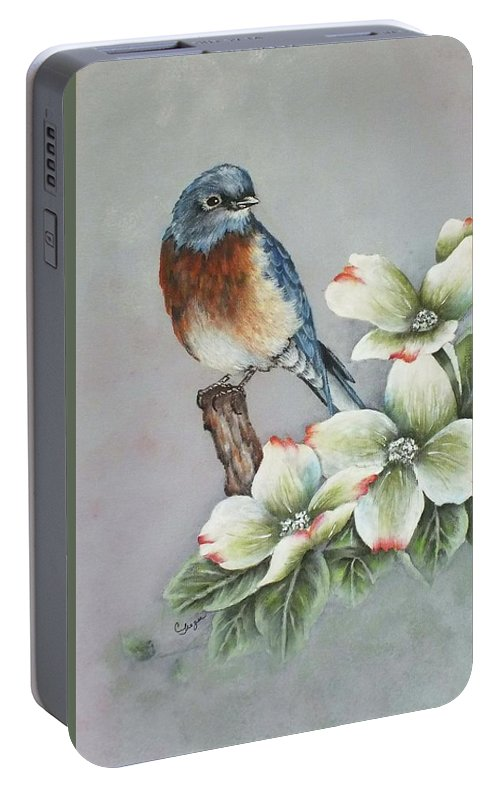 Eastern Bluebird Portable Battery Charger featuring the painting Eastern Bluebird And Dogwood - Acrylic Painting by Cindy Treger