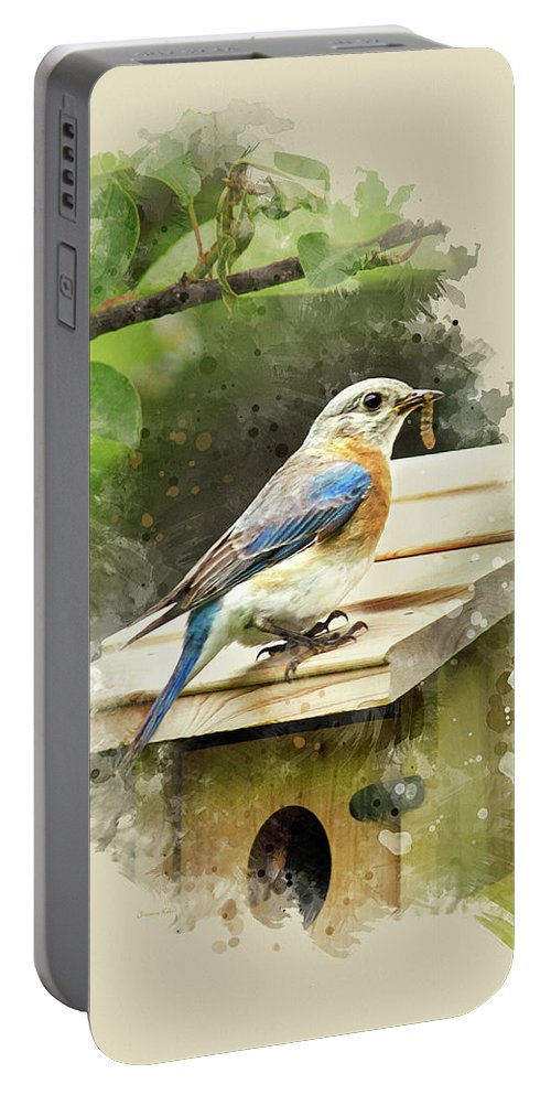 Bluebird Portable Battery Charger featuring the mixed media Eastern Bluebird Watercolor Art by Christina Rollo