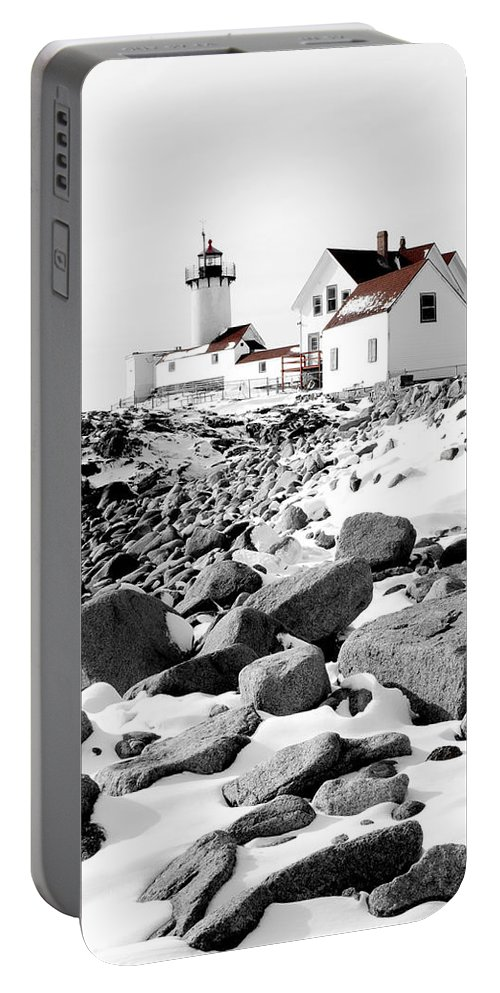 Gloucester Portable Battery Charger featuring the photograph Eastern Point Light by Greg Fortier