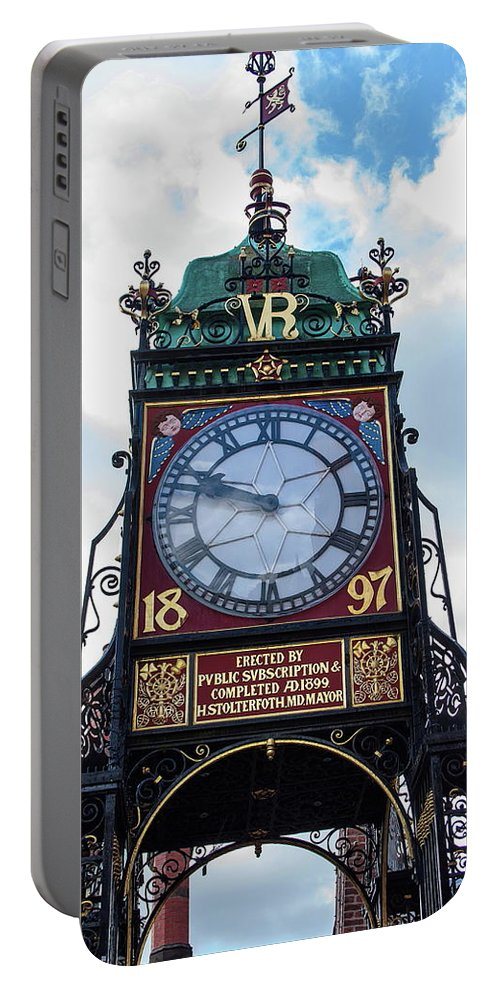 Clock Portable Battery Charger featuring the photograph Eastgate Clock In Chester by Jeff Townsend