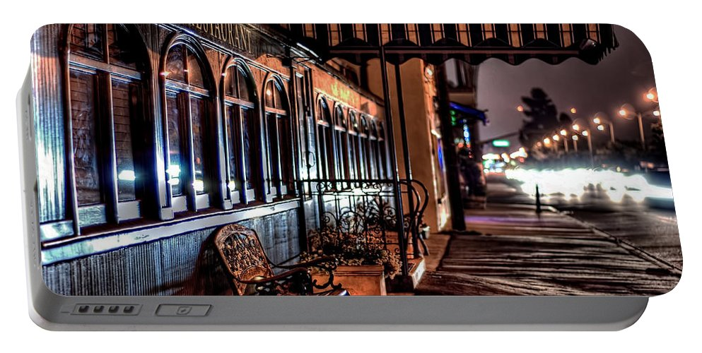 Night Bench Cityscape Sidecar Train Restaurant  Portable Battery Charger featuring the photograph Eatery by Wendell Ward