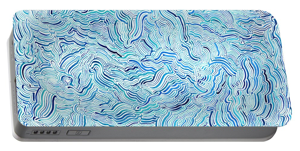 Mazes Portable Battery Charger featuring the drawing Ebb Tide by Steven Natanson