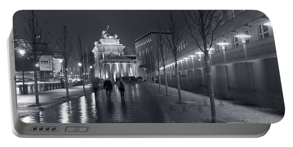 Brandenburg Gate Tor Symbol Landmark Building Architecture Sidewalk Lights Street Old City Germany Mitte Berlin Ebertstrasse Famous Old Portable Battery Charger featuring the photograph Ebertstrasse And The Brandenburg Gate by Pierre Logwin