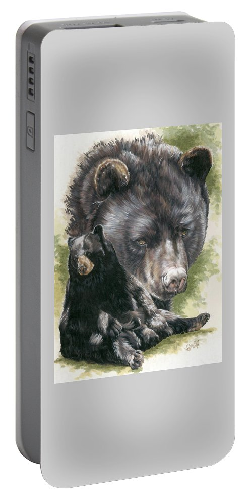 Black Bear Portable Battery Charger featuring the mixed media Ebony by Barbara Keith
