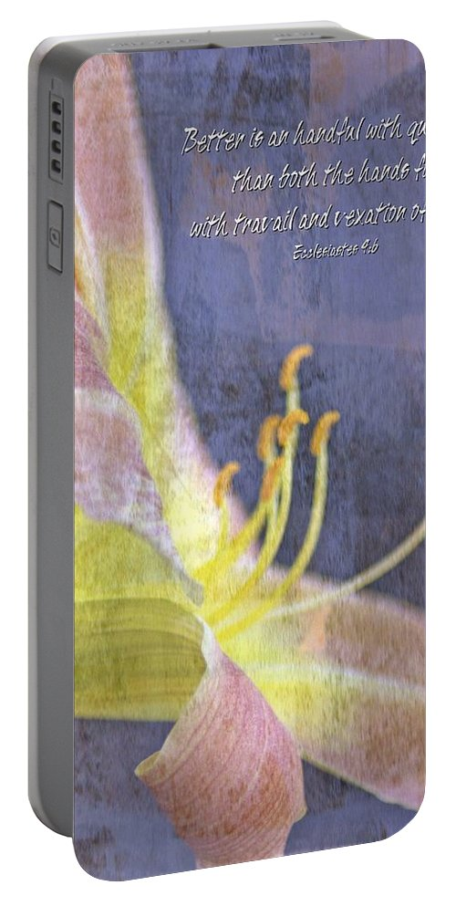 Jesus Portable Battery Charger featuring the digital art Ecclesiastes 9 6 by Michelle Greene Wheeler
