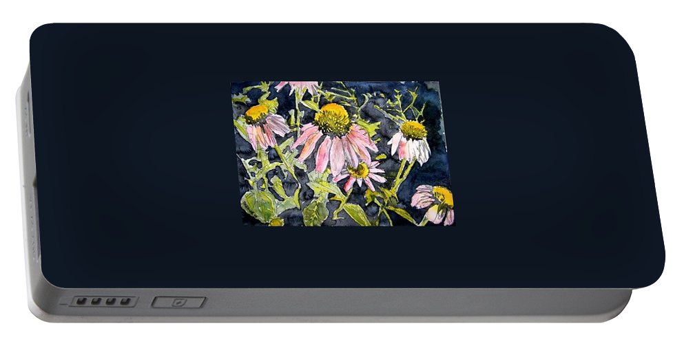 Echinacea Portable Battery Charger featuring the painting Echinacea Coneflower 2 by Derek Mccrea