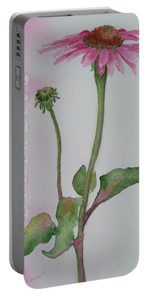 Flower Portable Battery Charger featuring the painting Echinacea by Ruth Kamenev