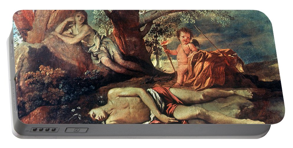 1630 Portable Battery Charger featuring the painting Echo And Narcissus by Granger