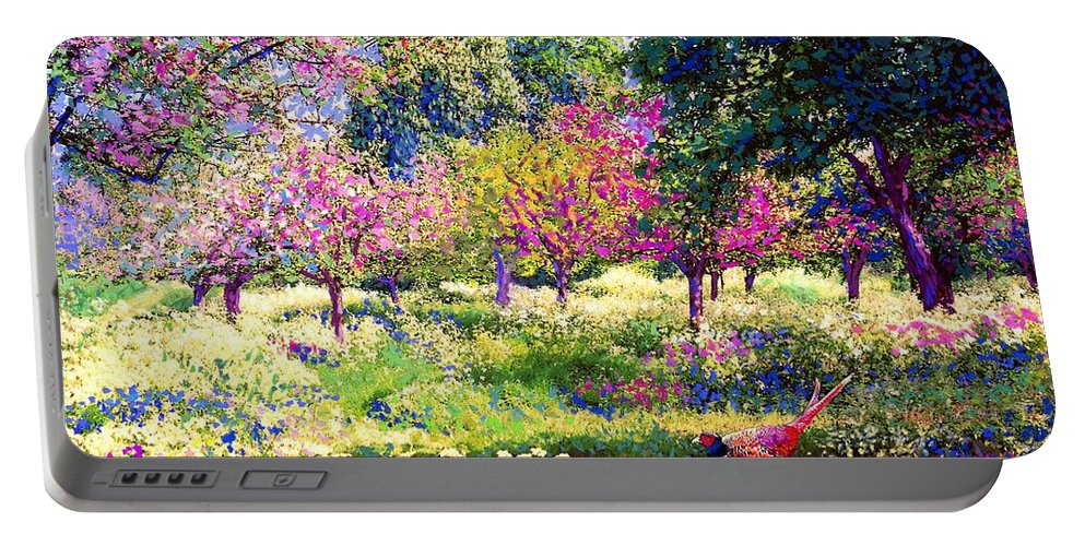 Wildflower Portable Battery Charger featuring the painting Echoes From Heaven, Spring Orchard Blossom And Pheasant by Jane Small