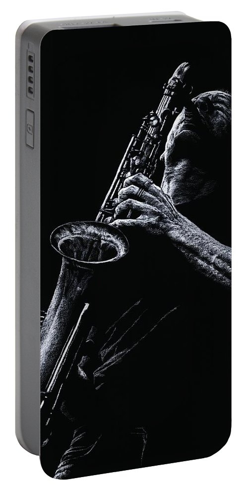 Musician Portable Battery Charger featuring the pastel Eclectic Sax by Richard Young