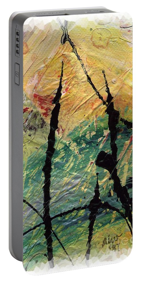 Abstract Portable Battery Charger featuring the painting Ecstasy II by Angela L Walker