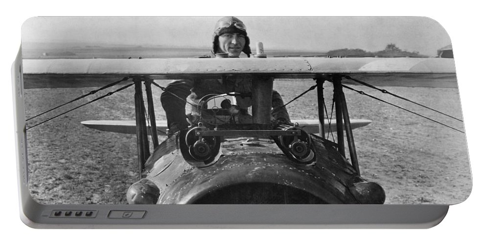 Rickenbacker Portable Battery Charger featuring the photograph Eddie Rickenbacker - World War One - 1918 by War Is Hell Store