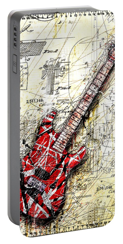 Guitar Portable Battery Charger featuring the digital art Eddie's Guitar 3 by Gary Bodnar