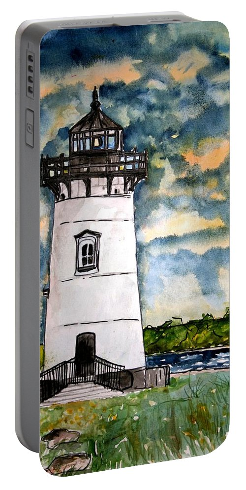 Lighthouse Portable Battery Charger featuring the painting Edgartown Lighthouse Martha's Vineyard Mass by Derek Mccrea