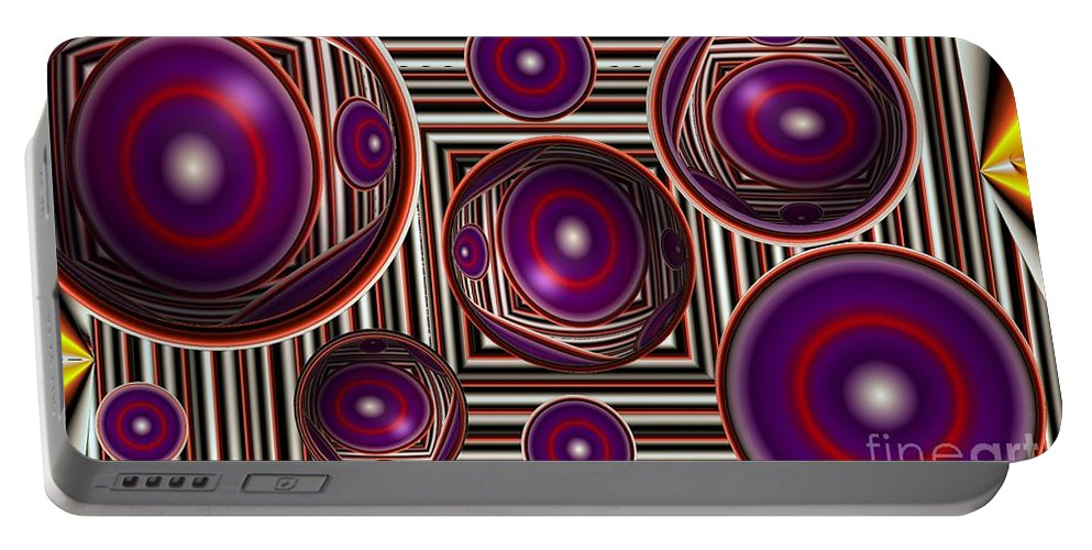 Abstract Portable Battery Charger featuring the digital art Edge Condition by Ron Bissett