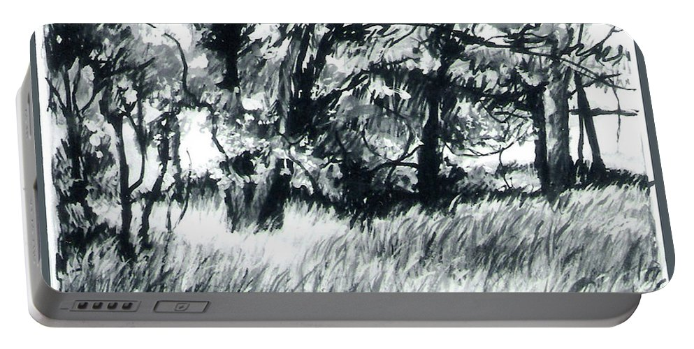 Trees Portable Battery Charger featuring the mixed media Edge Of Spring by Lee Baker DeVore