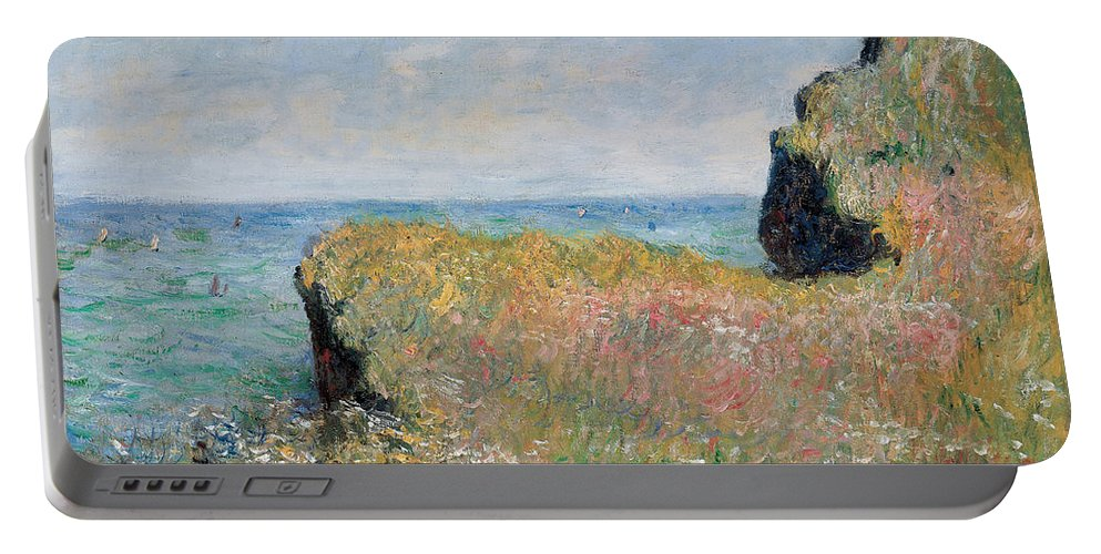 Monet Portable Battery Charger featuring the painting Edge Of The Cliff Pourville by Claude Monet