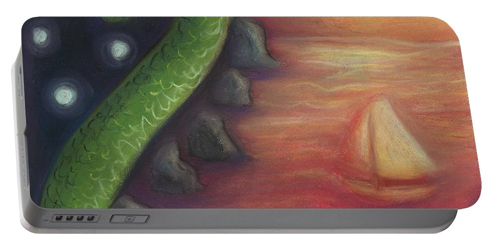 Dragon Portable Battery Charger featuring the painting Edge Of The World by Cassandra Geernaert