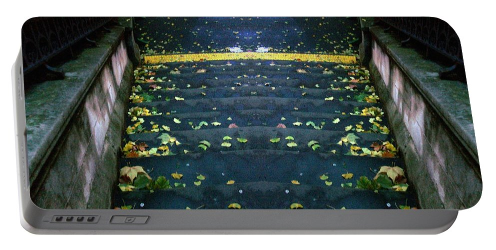 Digital Portable Battery Charger featuring the photograph Edinburgh - Stairs Ghost by Munir Alawi