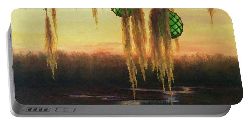 Creek Portable Battery Charger featuring the painting Edisto Island Glass Floats by Rosie Phillips