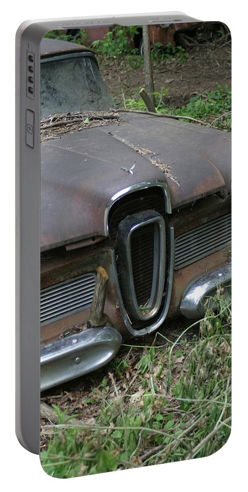 Junkyard Portable Battery Charger featuring the photograph Edsel -58 by Bjorn Sjogren