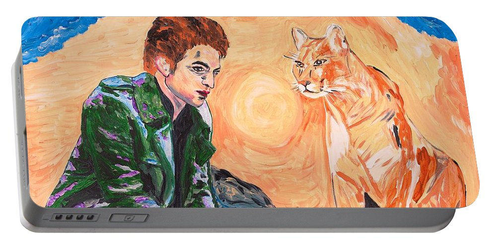 Edward Portable Battery Charger featuring the painting Edward Cullen And His Diet by Valerie Ornstein