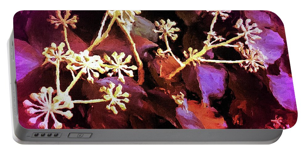 Pink Flowers Portable Battery Charger featuring the digital art Efeu Ivy Vines Pink by Mona Stut