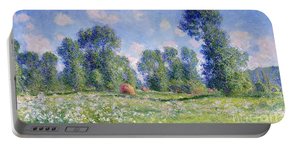 Effect Of Spring Portable Battery Charger featuring the painting Effect Of Spring At Giverny by Claude Monet