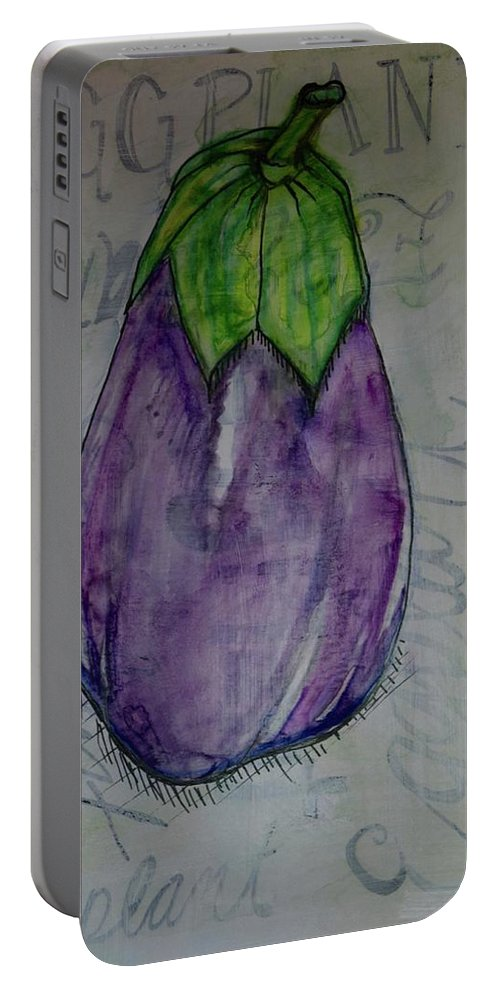 Ink Watercolor Paper Eggplant Cooking Kitchen Italian Green Purple Typography Kitchen Art Home Decor Art Decoration Wall Art Portable Battery Charger featuring the painting Eggplant Typography by Anne Seay