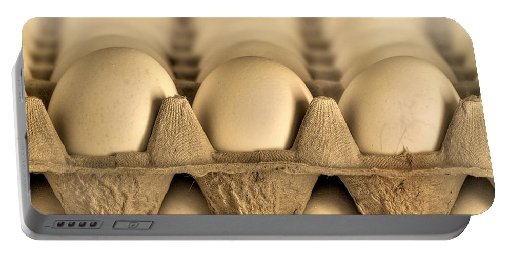 Blur Portable Battery Charger featuring the photograph Eggs by Evelina Kremsdorf