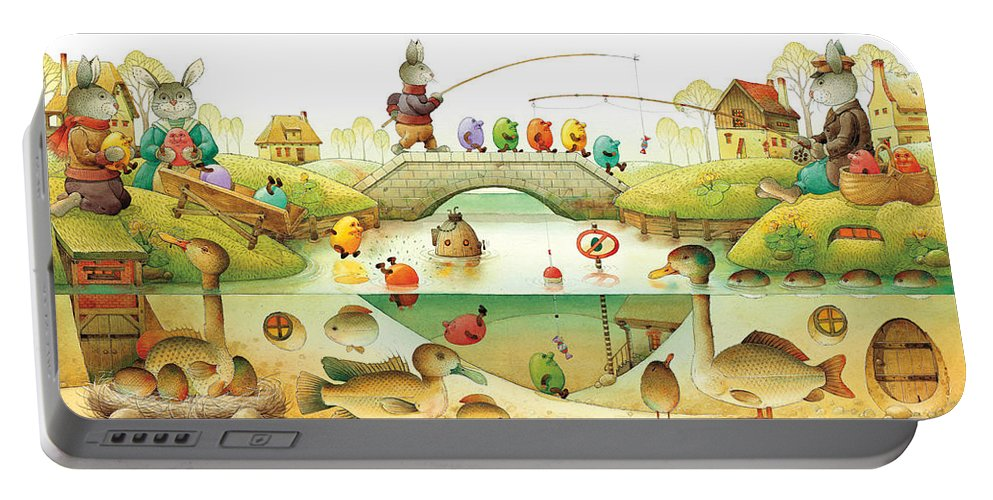 Eggs Easter Rabbit Portable Battery Charger featuring the painting Eggstown by Kestutis Kasparavicius