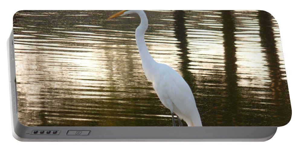 Egret Portable Battery Charger featuring the photograph Egret At Waters Edge by Russ Bertlow