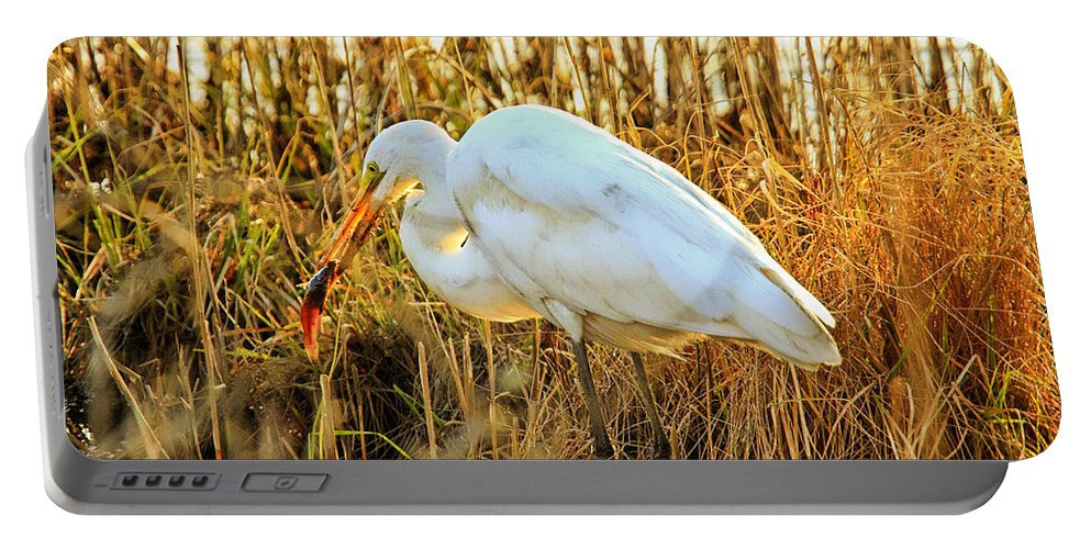 Recent Portable Battery Charger featuring the photograph Egret Fishing In Sunset At Forsythe National Wildlife Refuge by Geraldine Scull