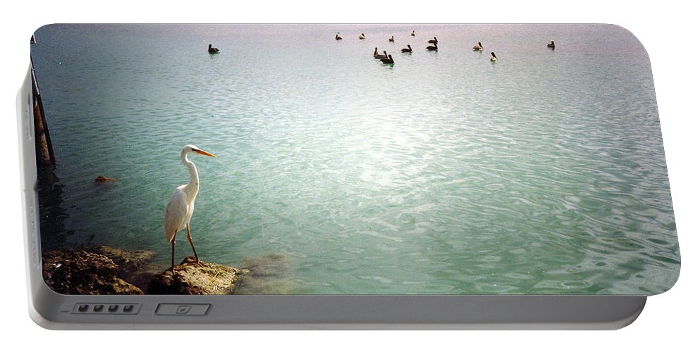 Egret Portable Battery Charger featuring the photograph Egret On Marathon Key by Jeanne Russell