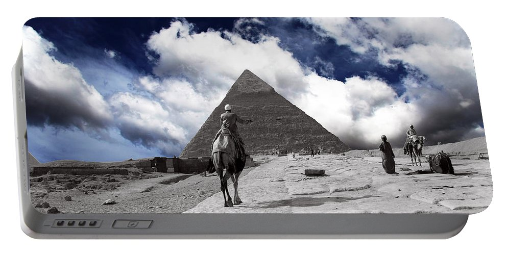 Egypt Portable Battery Charger featuring the photograph Egypt - Clouds Over Pyramid by Munir Alawi