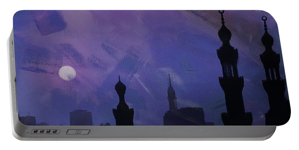 Minaret Portable Battery Charger featuring the painting Egypt Mosque by Gull G