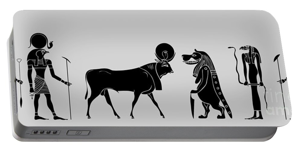 Egypt Portable Battery Charger featuring the digital art Egyptian Gods by Michal Boubin