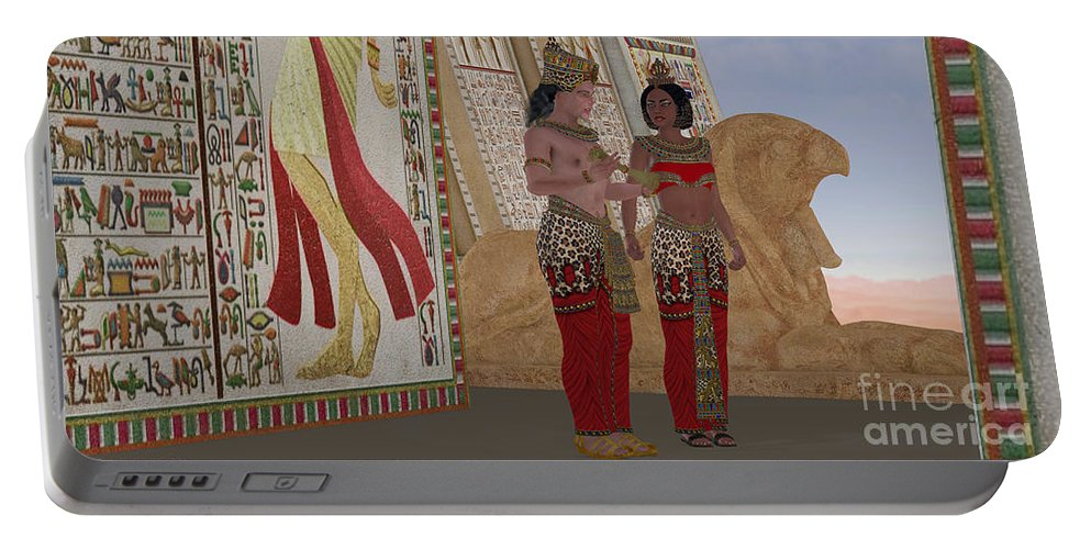 Old Kingdom Portable Battery Charger featuring the painting Egyptian King And Queen by Corey Ford