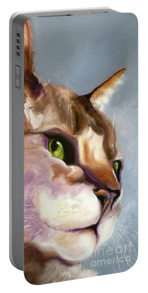 Cat Portable Battery Charger featuring the painting Egyptian Mau Princess by Susan A Becker