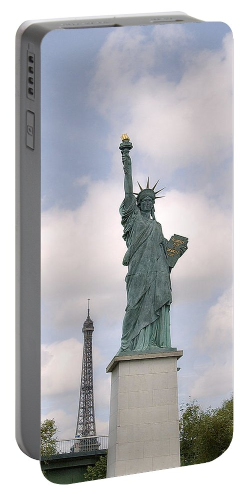 Eiffel Tower Portable Battery Charger featuring the photograph Eiffel And Liberty by Robert Ponzoni