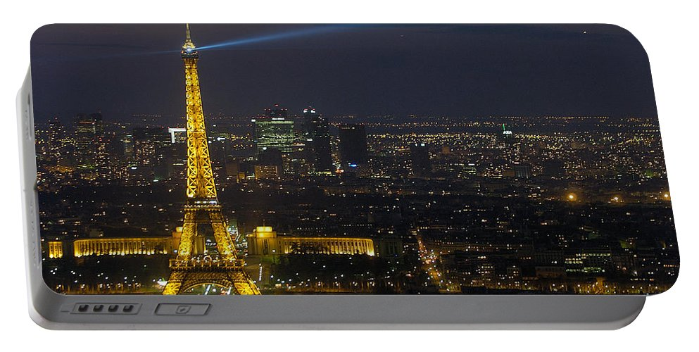 Eiffel Portable Battery Charger featuring the photograph Eiffel Tower At Night by Sebastian Musial