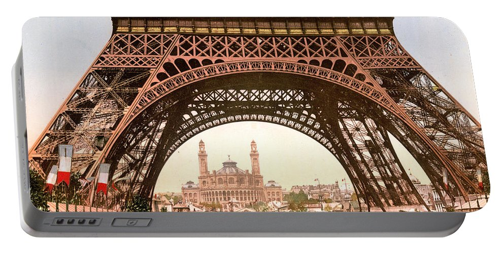 History Portable Battery Charger featuring the photograph Eiffel Tower, Exposition Universelle by Science Source